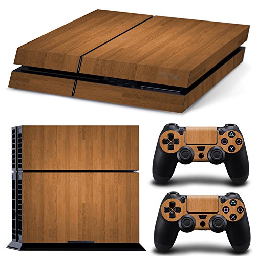bois-pleins-faceplates-skin-sticker-pour-console-ps4-x-1-et-le-manette-x-2-brown