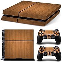 Ps4 Playstation 4 Consola Design Foils Sticker Decal Pegatinas + 2 Controlador Skins Set (Brown Wood)
