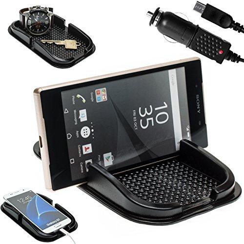 Mobilefox KFZ Anti-Rutsch Matte integr. Handy Halterung + Ladekabel SET für Sony Xperia Z3/Z3+/Z5/Compact/Premium - Rutschfestes Auto Halter Pad