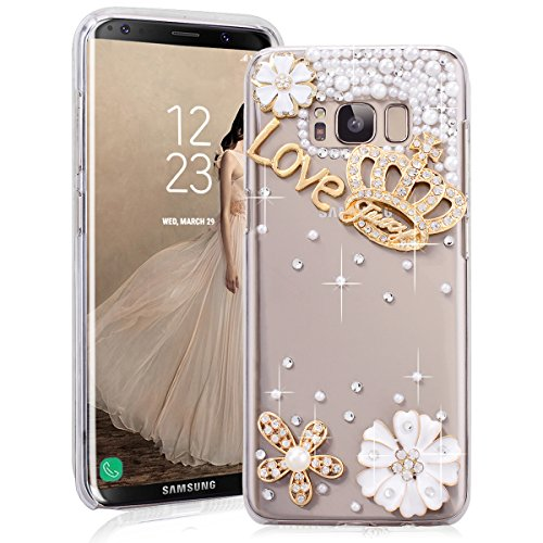 e für Samsung Galaxy S8 Plus Hartschale Transparent Schutzhülle Glitzer Handyhülle You are beautiful Diamant DIY Crystal Shiny Glanz Sparkle Bling Strass Tasche Skin Schale Hart PC Hardcover für Samsung Galaxy S8 Plus Clear Kristall Handytasche Etui Backcover - König Krone (Diy-king-krone)
