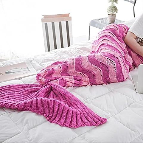 Wuiyepo Mermaid cola manta para los niños Adolescentes adultos hechos a mano ola Mermaid mantas Crochet Knitting manta Estaciones calientes suave sala de dormir bolsa de dormir Mejor regalo de Navidad de cumpleaños (Rosa