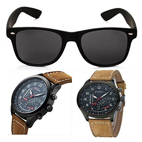 Xforia Men's UV Protected Oval Men Sunglass and Analogue Watches Accessories Combo Set(Sunglasses & Watch)