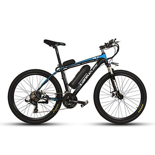 extrbici T8Mans Elektrische Mountain Bike 43,2x 66cm Alu Rahmen Gabel Aufhängung mit Lockout 240W 36V 20HA Wasser Flasche Halterung Lithium Akku 21Speed Shimano Shift Gears 3Motor Modelle Mechanische Bremse, mit gratis Ladegerät, schwarzblau