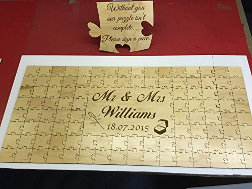 Luxury maplewood personalised wooden wedding guest book jigsaw puzzle keepsake birthday (56 pieces 400x300mm (16