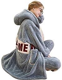 Pijamas, Terciopelo de Coral de Invierno para Mujer, Ropa para el hogar, Cartas Lindas, Servicio de hogar en otoño e…
