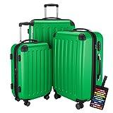 Hauptstadtkoffer Set di valigie 49+82+128 litri con un lucchetto TSA Seria SPREE (Colore Verde con 1 ciondolo per la valigia)
