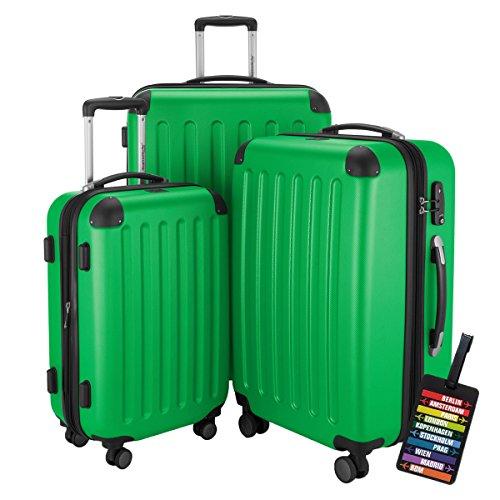HAUPTSTADTKOFFER® Hartschalen Koffer SPREE 1203 · NEU 4 Doppel-Rollen · MATT · TSA Zahlenschloss · + KOFFERANHÄNGER (Apfelgrün, Set)