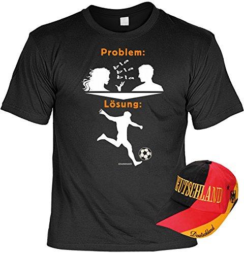 EM SET - T-Shirt mit Kappe: Problem, bla bla bla - Lösung Fußball - Fußballmotiv - Für alle Fußballfans Schwarz