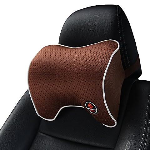 Auto Kissen, Kopfstütze Nackenkissen für Autositz mit memory schaum, Stetige Unterstützung Kopf / Nacken / Schulter für das Fahren - Braun