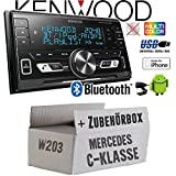 Mercedes C-Klasse W203 - Autoradio Radio Kenwood DPX-M3100BT - 2-Din Bluetooth USB VarioColor Einbauzubehör - Einbauset