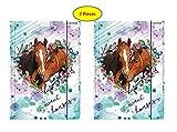 Theonoi süße Pferde 2 x Hochglanz Ordner Mappe / Sammelmappe / Heftmappe / Zeichenmappe / Dokumentenmappe mit Gummizug / Gummiband DIN A4 für Kinder, zum Abheften und Ablegen (Pferd 2)