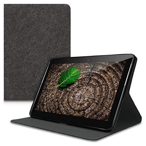 kwmobile Funda de Fieltro Estilo Cartera para Samsung Galaxy Tab 2 10.1 P5100/P5110 - Estuche abatible en Gris Oscuro