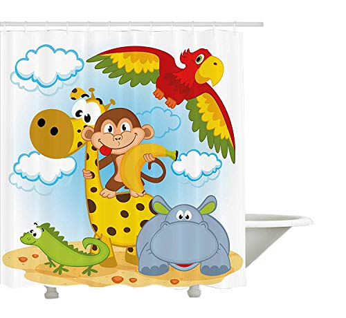 Yeuss Kids Duschvorhang, afrikanische Tiere Safari Theme Cartoon Illustration AFFE Papagei Giraffe Hippo Eidechse, Stoff Badezimmer Dekor Set mit Haken, Multicolor (Kids Affe Badezimmer-dekor)