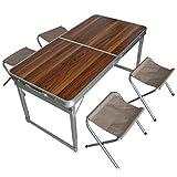 Spetebo Alu Camping Set klappbar - 4X Stuhl + Tisch Holzdesign - Koffertisch Falt Hocker Sitzgruppe