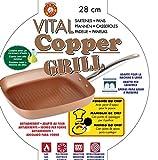 XSQUO Useful Tech Rebajas de Enero !! Sartén y Plancha Grill de 28 cm. Apta para inducción. Vital Copper Gourmet Tools