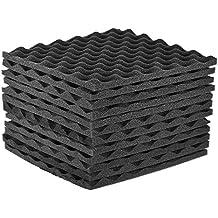 ammoon Espuma Acústica de Estudio Paquete de 12 Paneles de Espuma de Aislamiento Acústico 30 * 30 cm / 12 * 12 Pulgadas