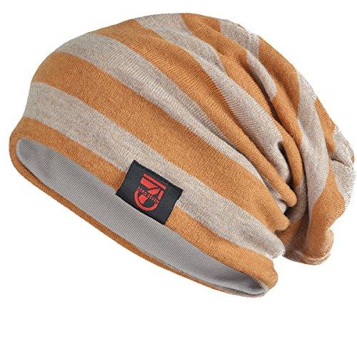 Unisex Jersey Slouch Beanie Mütze Hüte für den Sommer Winter N010 (Gelb gestreift)