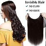 Extension Capelli Veri Filo Invisibile 16' 40cm Fascia Unica Castano 60g Capelli Umani Naturali 100% Remy Human Hair Lisci #2 Marrone Scuro