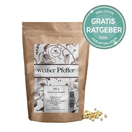 Weißer Pfeffer ganz 150g | Gourmet Pfeffer weiß inkl. Gratis Ratgeber | Qualitäts weiße Pfefferkörner für Pfeffermühle Reibe - Gewürze im Nachfüllpack