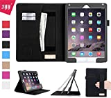 iPad Air 2 Case, iPad Air 2 Cover, Fyy® [Luxurious Protection] Premium PU Leather Case Smart Auto Wake/Sleep Cover with Velcro Hand Strap, Card Slots, Pocket for iPad Air 2 Black