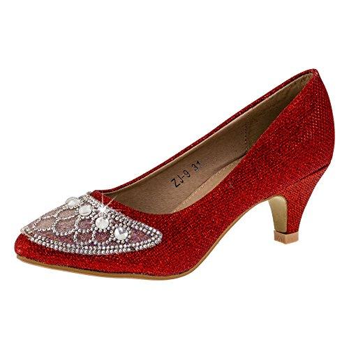 Festlich Schöne Mädchen Schuhe in 4 Farben (35, 135rt Rot) (Ballerinas Glitzer Rote)