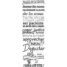 Plage Reglas de la Cocina Adhesivo para El Frigorífico, Vinilo, Blanco y Negro,