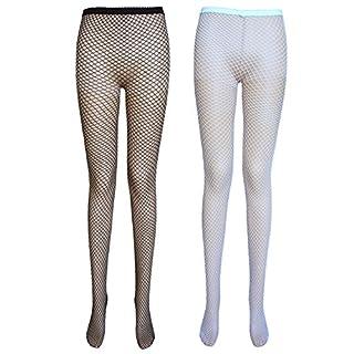 Damen Netzstrumpfhose (Medium net, 2 Paar Schwarz+Weiß)
