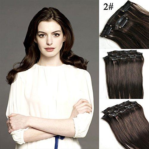 # 2 Marron Foncé 50,8 cm 8/Set Clip en cheveux humains Remy Clip dans/sur cheveux Extension de cheveux droite Clip Extension de cheveux brésiliens vierges de qualité supérieure (50,8 cm)