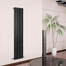 Hudson Reed DRBDP1 - Radiador Calentador Diseño Vertical Decorativo en Acero Negro - 754 Vatios - 1600mm x 354mm - Calefacción Central Agua - Columnas Circulares - Acabado Satinado - Modelo Java