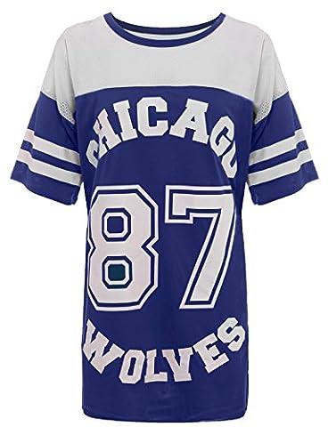 Purple Hanger - T Shirt Femme Motif Chicago Wolves 87 Col Rond Manches Courtes - 36-40, Bleu roi