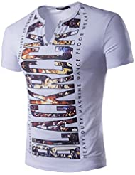 boucle en métal coton col V pour hommes de lettres d'impression T-shirt