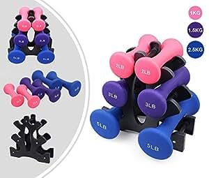 Leogreen - Set Pesi Per Donna, Manubri Rivestiti, Lucido, Rosa/Viola/Blu, 10 kg, con supporto, Materiale del manubrio: PVC, Materiale dello stand: Plastica ABS