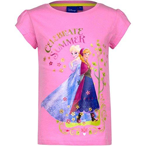 Disney Frozen Die Eiskönigin T-Shirt, Original Lizenzware, rosa, Gr. 128 (Anna Frozen Shirt Kleinkind)