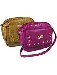 Chalissa Women's Sling Bag ( Pack Of 2, Pink & Gold )