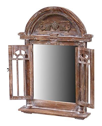 fenster spiegel holz more-decor-de Spiegelfenster Rundbogen Spiegel mit Fensterläden und Kleiner Ablage - aus Holz - im Landhaus Stil - Braun - 47cm x 63cm