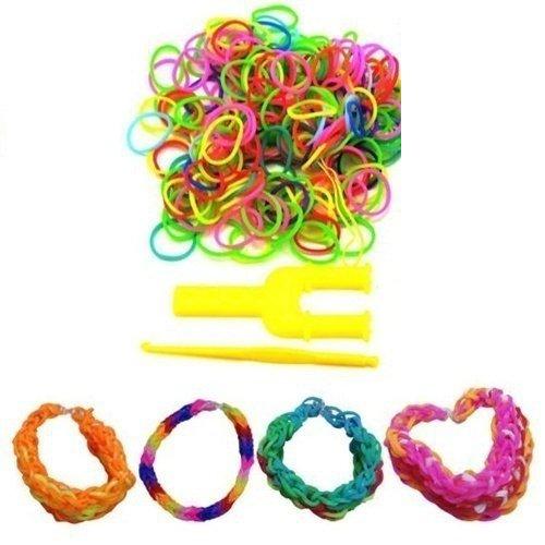 fomccu 3Staubbeutel Loom Bands Kit Rainbow Bands S-Clips Häkelnadel für Kids DIY Armbänder eine (Toy Story Figur Einhorn)