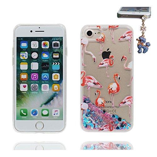 """iPhone 7 Plus Coque, Birds Grand Flamant Skin Hard Clear étui iPhone 7 Plus, Design Glitter Bling Sparkles Shinny Flowing iPhone 7 Plus Case Cover 5.5"""", résistant aux chocs et Bouchon anti-poussière # 3"""