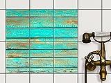 Küche Bad Fliesenaufkleber Folie Sticker | Fliesendekor Badfliesen Fliesenposter Kellerfliesen | 15x20 cm Muster Ornament Wooden Aqua - 6 Stück