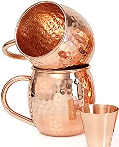 buy set of 2 pure copper mugs with free copper shot glass two 16