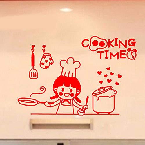 Happy Cooking Time Adesivi murali in Vinile per Cucina Wall Art Sticker  Home Design Decor Adesivo Do Poko Ju S WW-2 30x45cm