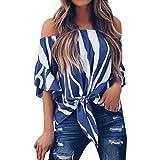 Holeider Tops Damen Sommer T Shirt Damen Sommer, Frauen T-Shirts Oberteile Blusen Lässig Gestreift aus Schulter Taille Krawatte Kurzarm (M, Blau)