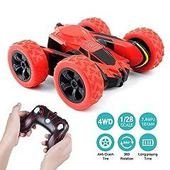 Idea Regalo - Macchina Telecomandata, 4WD RC Auto Telecomando 360° Rotazione Acrobatica RC Stunt Car, 1:28 / 2.4GHZ Macchina Radiocomandata per Bambini Giocattoli - Rosso (Batteria Non Inclusa)
