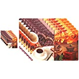 Winner Multicolour Coffee Cup Design Printed Table Placement Mats - Set Of 6 Kitchen Mat With 6 Coasters