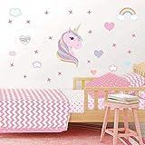 AIYANG Licorne Mur Autocollants Compte Mur de l'art de Les Couleurs de l'arc en Ciel Les cœurs Les étoiles Mur des Autocollants pour Chambre des Filles de décoration (Rose)