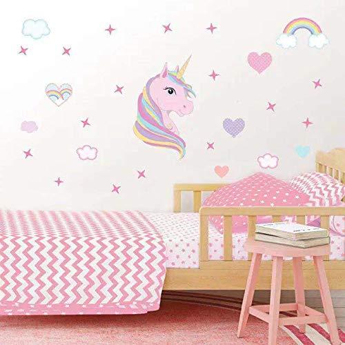 AIYANG Einhorn Wandtattoo Reflektierende Vinyl Mauer - Kunst Regenbogen - Farben, Herze Sterne Wandsticker Weiße Wolke Aufkleber für Mädchen Kinderzimmer Dekoration (Regenbogen)
