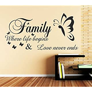 Family Where life begins and Love Never Ends Word Wall Sticker Decal Quote B55 (1150mm x 580mm)