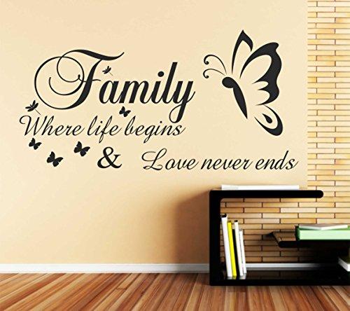 """Vkstickers B55-- Adesivo da parete con citazione """"Family Where life begins and Love Never Ends"""" (la famiglia, dove la vita ha inizio e l'amore non ha fine), nero, 790mm x"""