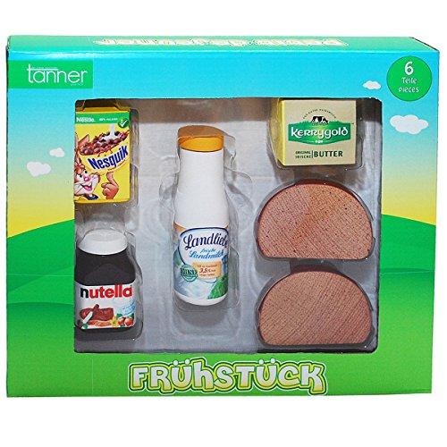 Preisvergleich Produktbild Holz Frühstücksset für Kaufläden und Kinderküchen, Nutella, Butter, Brot | Kaufladen Zubehör Lebensmittel Kaufmannladen Spielküche Zubehoer