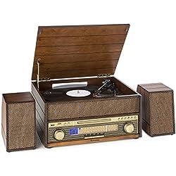 auna Epoque 1909 cadena de música con tocadiscos retro (Bluetooth, USB, MP3, reproductor de CD, vinilo y casete, altavoces, radio FM/AM, AUX) - madera