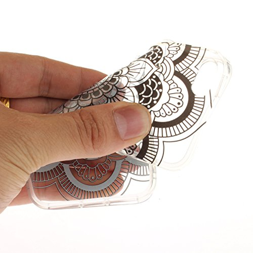 iPhone 5/5S/SE Coque en Slicone Transparent Housse de Téléphone Étui iPhone 5/5S/SE Diamant Coque,Etsue Coque iPhone 5/5S/SE Retro Romantique Élégant Beau Mandala Fleur Pissenlit Cool Blanc&Gris Motif Datura Noir